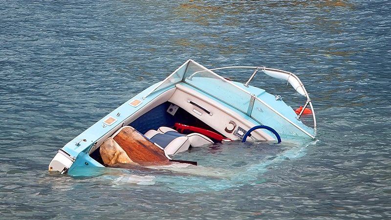 capsized boat after an accident