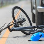 Bicycle on the road after it was struck by a vehicle
