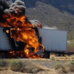 crashed semi truck on fire