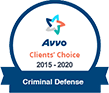 Avvo client's choice award for Criminal Defense 2015-2020